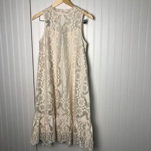 Anthropologie floreat cream high neck mini dress